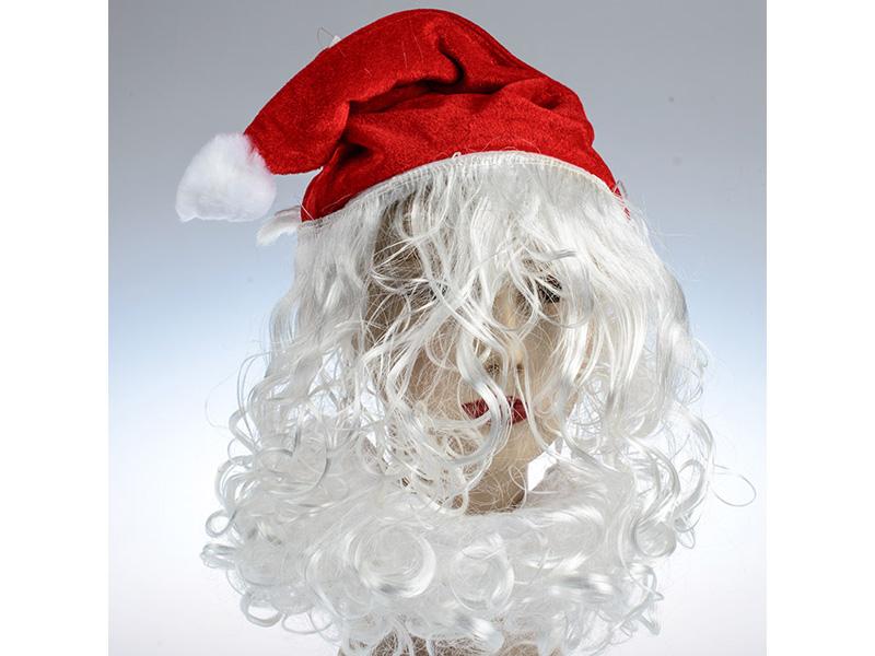 Шапка карнaвальная с бородой дед мороз  упаковка 10 №17