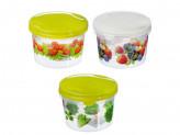 Набор контейнеров для продуктов Браво, 2 шт, круглые, 0,5 л+0,75 л, пластик, 3 дизайна