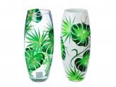 """PASABAHCE Ваза стеклянная, ручная роспись, """"Зеленые листья"""", 25х9 см, 2 дизайна"""