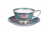 """Набор чайный 2 предмета, костяной фарфор, 240 мл, подарочная упаковка, MILLIMI """"Арабеска бирюза"""""""
