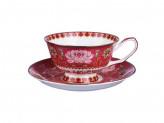 """Набор чайный 2 предмета, костяной фарфор, 240 мл, подарочная упаковка, MILLIMI """"Арабеска коралл"""""""
