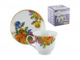 Набор чайный 12 предметов 6 чашек 6 блюдец 220мл на с металлической подставкой