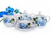 Набор чайный 15 предметов 6чашек 6блюдец Чайник Сахарница Молочник ТЮЛЬПАН Голубая герань