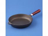 Сковорода 26см без крышки чугунная деревянной ручкой