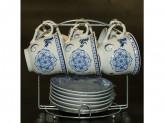 Набор чайный 12 предметов 220мл фарфор меалическая подставка YK 18А22