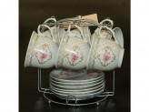 Набор чайный 12 предметов 220мл фарфор меалическая подставка YKG 182