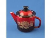 Чайник 1,0л бордовый с рисунком с золотом