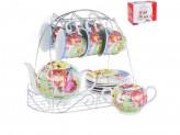 Набор чайный 14 предметов 6 чашек 6 блюдец Чайник 1,0л Сахарница на метелической подставке 124-01014