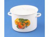 Кастрюля 4,5л цилиндрическая белая с рис