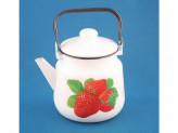 Чайник 3,5л белый с рисунком КЛУБНИКА