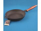 Сковорода 22см без крышкой чугунная дер, руч