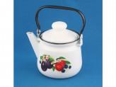 Чайник 1,5л эмалированый белый с рис