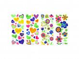 Набор наклеек, ПВХ, в виде сердец и цветов, 27, 5х10, 5см, 3-5 дизайнов