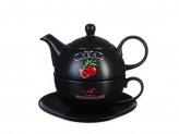 """Чайный набор, чайник 440 мл, чашка 330 мл, блюдце 15 см, керамика, MILLIMI """"Вельвет"""""""