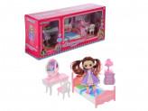 Набор игровой кукла с мебелью, 6-22пр., пластик, 40х18х10см, 2 дизайна