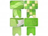 Набор ковриков 2шт для ванной и туалета, акрил, 50x80см + 50x50см, зелёный 4 дизайна