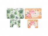 Набор ковриков для ванной, флис, принт, губка, 1, 2 см, 50x80 см + 50x40 см, 2 дизайна, VETTA