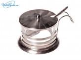 Сахарница стеклянная в металлическом подстаканнике НТ02-S