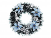 Новогодний венок СНОУ БУМ  38 см, голубые цветы, ПВХ