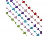Бусы декоративные СНОУ БУМ 200 см, с сердечками, 6 цветов