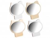 Зеркало настольное, 17, 3х17 см, стекло, ДВП, 4 цвета