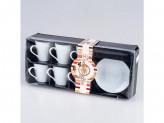 Набор керамический  чайный 12 пр белый ht 3403 в уп pvc сбт