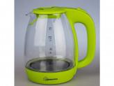 Чайник электрический, 2200вт, 1.7л, диск, стекло, homestar hs-1012 зеленый