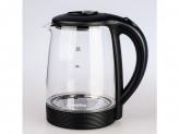 Чайник электрический, 2000вт, 1.8л, диск, термостойкое стекло матрена ма-009 черный (005418)