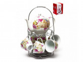 Набор чайный 13пр мет/подст (6 чашек220мл+6 блюдец+чайник 1,0л) ПУ [ФЛОРА]