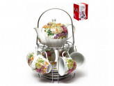 124-01190 Набор чайный 13пр мет/подст (6 чашек220мл+6 блюдец+чайник 1,0л) ПУ [ФЛОРА