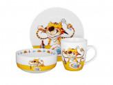 Полосатый кот Набор детской посуды 3 предмета, костяной фарфор