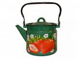 Чайник 2,0л (эмалированная сталь) изумруд с рисунком [КЛУБНИКА САДОВАЯ]