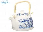 """Чайник заварочный 900 мл """"Восточная река"""", керамика, с ситечком и бамбуковой ручкой, 839G015"""