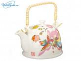 """Чайник заварочный 900 мл """"Райская птица"""", керамика, с ситечком и бамбуковой ручкой, 839G018"""