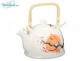 """Чайник заварочный 900 мл """"Весенний рассвет"""", керамика, с ситечком и бамбуковой ручкой, 839G016"""
