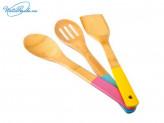 Набор 3 пр кухонных принадлежностей, бамбук, цветные ручки