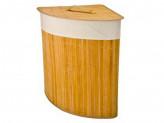 Корзина для белья складная угловая бамбук 35x35х50см