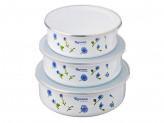 Набор контейнеров эмалированных с пластиковой крышкой, 3шт, (d14x4,5см, d16xh5,5см, d18x6см)