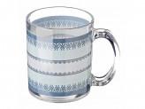 Кружка стекло 270мл, Синий орнамент