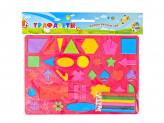 """Трафареты для рисования 26х18см, """"Фигуры"""" 35 контуров + 6 карандашей, 6 цветов"""