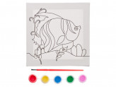 "Набор для росписи по холсту 15х15х2см ""Микс 1"", пластик, дерево, 5 красок, кисть, 4 дизайна"