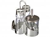 Набор для соли, перца и горчицы с салфетницей, стекло, пластик, металл, h13см, Комфорт