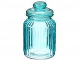 Банка для сыпучих продуктов 1000мл, Марлин  стекло, синий