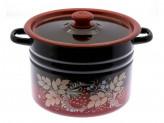 Кастрюля цилиндрическая  красно-черная декор 8,0л с пластиковой  кнопкой