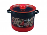 Кастрюля цилиндрическая красно-черная декор 5,5л с пластиковой кнопкой