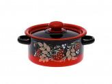 Кастрюля цилиндрическая красно-черная декор 2,0л с пластиковой кнопкой