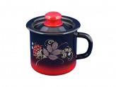 Кружка 1,0л красно-черная декор с крышкой
