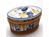 Кастрюля в плетеной подставке, 1.4л, круглая, жаропрочная керамика, LR 373
