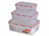 Комплект контейнеров для продуктов Clipso прямоугольных 0,5 л + 1л + 1,5 л