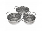 Набор кухонной посуды 6 предметов кастрюли 1,5л+2л+2,5л, с крышками d16+d18+d20
